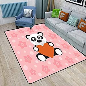 Cute Cartoon Cute Area Rugs, Lovely Panda with Red Heart Pattern on Pink Background Nursery Artwork Bedroom Carpets for Kid Nursery Girls Baby, 6'6″ x 9′