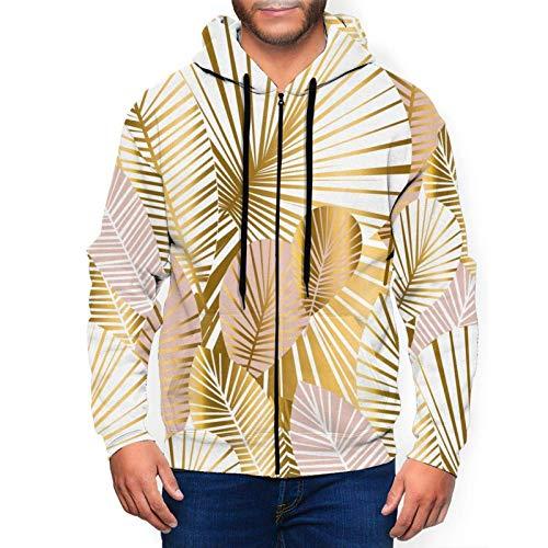 Sudaderas con capucha para hombre de oro y rosa pálida hojas abstractas con capucha 3D estampado chaqueta cremallera suéter sudadera camisa