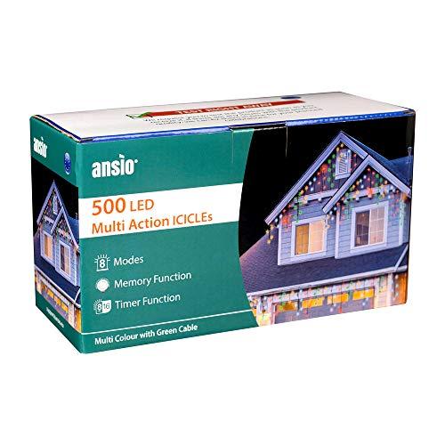 ANSIO 500 LED Multicolore Tenda luminosa, Luci natalizie per interni e esterni, 8 modalità luce/timer, Memoria, trasformatore incluso, 17,4m lunghezza-Cavo verde[Classe di efficienza energetica A+++]