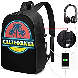 513jhgRxF L. SS300  - Mochila con Interfaz USB Unisex Backpack with USB Charging Port California Santa Monica Beach Classic Fashion General…