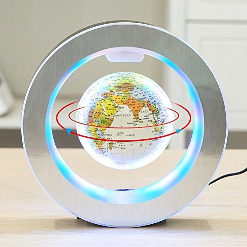 YANGHX Levitation Floating Globe 4inch Rotating Magnetic Mysteriously Suspended in Air World Map Home Decoration Crafts Fashion Holiday Gifts (White)