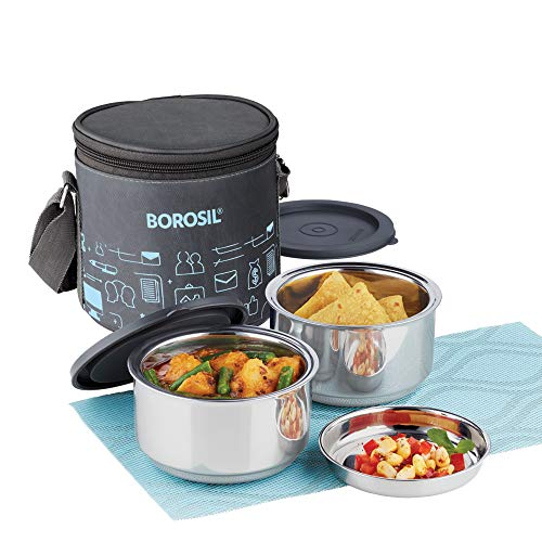 Borosil - Carry Fresh Stainless Steel Insulated Lunch Box Set of 2, 280ml, Grey