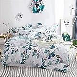 Wongs bedding funda nórdica de algodón floral hojas botánicas de algodón aqua funda nórdica impresa con cierre de cremallera, ropa de cama de algodón suave (3 piezas, 220x240 cm)