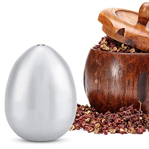 KIRSTHM Salero y pimentero de acero inoxidable, salero y salero en forma de huevo, condimento, botella de condimentos para cocina, camping, barbucue