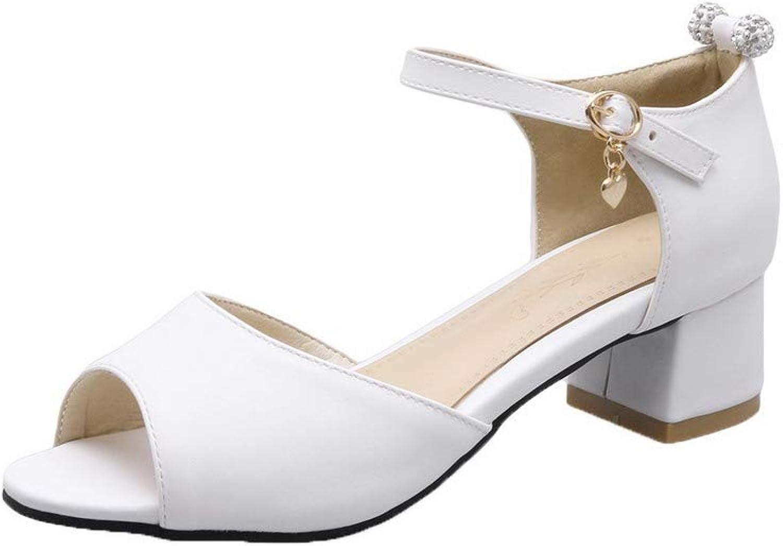 WeiPoot Women's Open-Toe Buckle Pu Solid Low-Heels Sandals, EGHLH007536