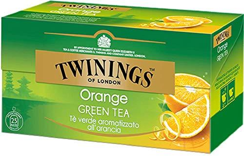 Twinings Tè Verde all'Arancia - Miscela di Tè verdi Provenienti da Cina e India, Aromatizzata con Arancia e Fiori di Loto - Gusto Leggero, Pacevole e Fragrante (1 Box)