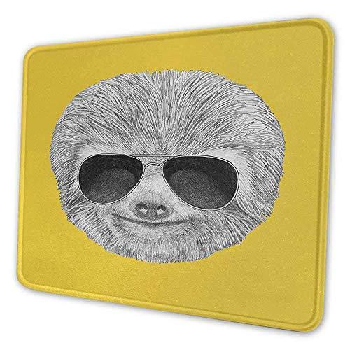 Alfombrilla de ratón con estampado de pereza hipster animal de la selva con gafas de sol sonriente expresión divertida alfombrilla de ratón con estampado de personajes geniales para mujeres yelow gris