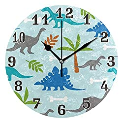WXLIFE Cute Animal Dinosaur Pattern Round Acrylic Wall Clock, Silent Non Ticking Art Painting for Kids Bedroom Living Room Office School Home Decor