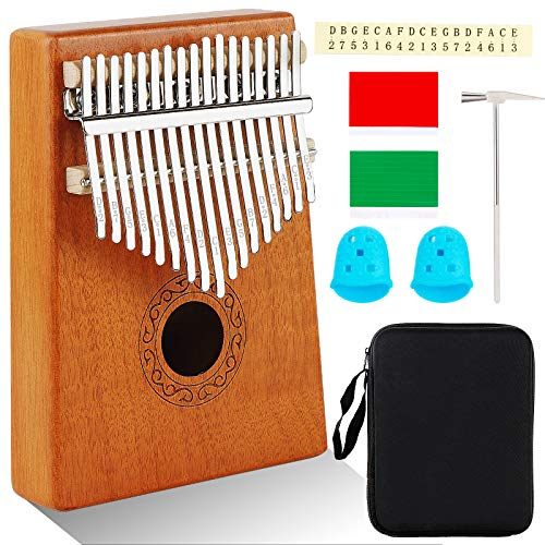 AerWo Kalimba Thumb Piano 17 keys, Portable Mbira Finger Piano with Piano Tuning Hammer and Study Instruction, Pocket Piano for Kids, Gift for Kids Adult Beginners Professional
