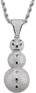 ICE JEWELRY 14K Gold Plated Micro Paved Cubic Zircon Cartoon Christmas Snowman Pendant Necklace with 24 Inch Rope Chain