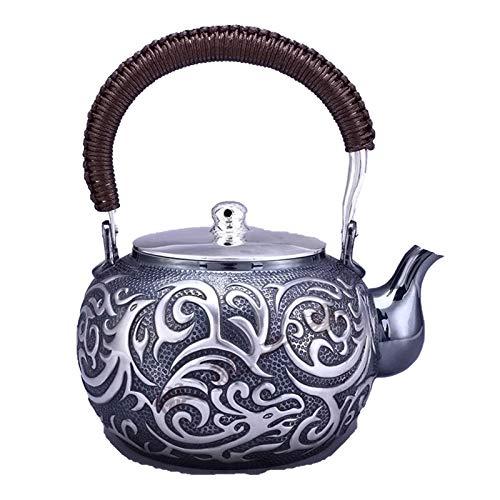 no-branded Tetera de Plata Tetera Kettle Hot Water Tea Pot Kettle 1100ml Capacidad Hecho a Mano S999 Juego de té de Plata esterlina LPLHJD