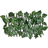 wuxafe Valla De Madera con Hoja De Hiedra Artificial, con Setos Retráctiles En Expansión del Vallado De Enrejado con Flores De Privacidad para Jardín 40cm para Patio Interior O Exterior, Jardín