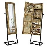 SRIWATANA Armadio per gioielli in piedi con specchio Organizzatore di gioielli in legno massiccio, specchio in piedi con portagioie
