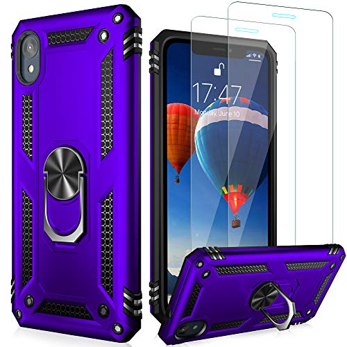 LUMARKE Moto E6 Case with Glass Screen Protector(2 Pack),Pass 16ft Drop Test Military Grade Heavy Duty Cover with Magnetic Kickstand,Protective Phone Case for Moto E6 Purple