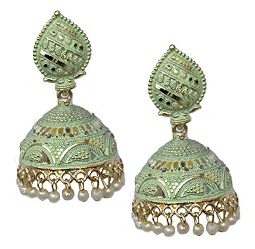 Pahal - Pendientes tradicionales de Jhumka con perlas de color verde claro pintadas en oro grande, joyería de fiesta para mujer