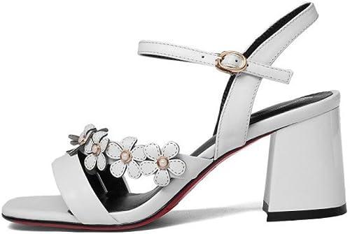 YXLONG Les Sandales des Femmes D'été Nouvelles Chaussures à Bout Ouvert Europe Et Amérique Sauvage épaisse avec Une Boucle De Mot Hauts Talons