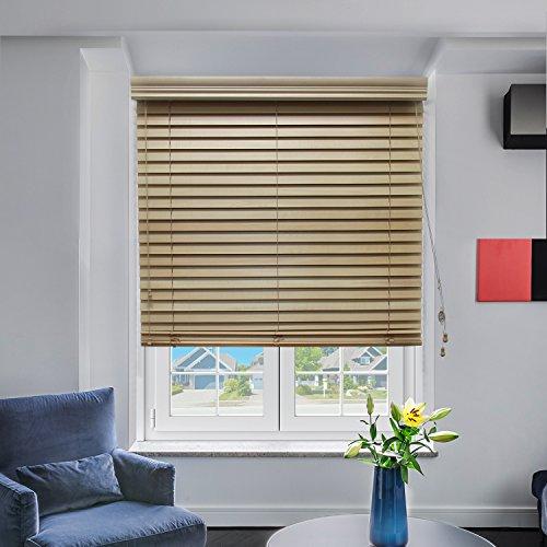 Chicology Jalousie/Fenster aus Echtholz, horizontal, 5,1 cm Lamellen, Echtholz, Variable Lichtsteuerung, Pistazie, 91,4 cm B x 162,7 cm H