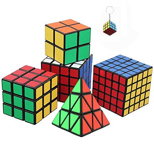 Conjunto de seis impresionantes cubos mágicos incl. Pyraminx, 2x2, 3x3, 4x4, Cubo del rompecabezas 5x5 + mini cubo del juego llaveros