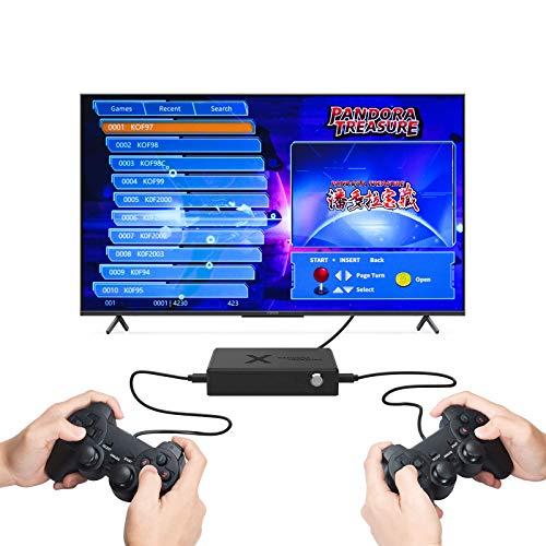 ARCADORA Pandora Treasure 3D TV Game Box con Cable 2 Jugadores 4230 Juegos en 1, Soporte para Agregar Juegos, función de Pausa, 1280 x 720 HDMI, tamaño Compacto (2 gamepads incluidos)