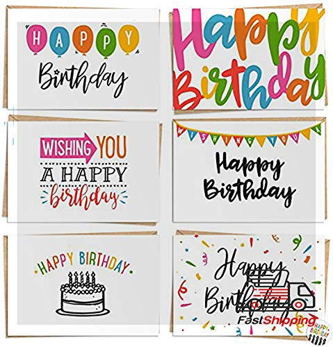 """Bulk Birthday Cards With Message Inside - 120 PaHappy Birthday Cards - Bulk Set Includes 6 Designs, Craft Paper Envelopes and Labels Included, 4 x 6"""""""