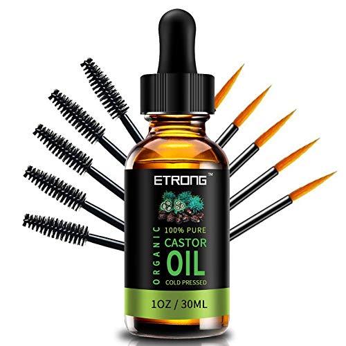 Bio-Rizinusöl Castor Oil, 100% reines kaltgepresstes Rizinusöl Serum für Haare, Wimpern, Augenbrauen und Hautpflege mit 5 Sätzen Augenbrauen & Eyeliner-Bürsten, Parfümöle Geschenke für Frauen