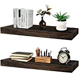 Floating Shelves for Wall Storage, (24' x 6' ) Decor Wood Bathroom Shelves with Brackets, Thick Black Book Shelves for Bedroom, Long Rustic Hanging Shelves Wall Mounted for Kitchen and Living Room