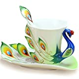 vanki 1 pc Collectable Fine Arts China Porcelain Tea Cup and Saucer Coffee Cup Peacock Theme Romantic Creative Present,Green