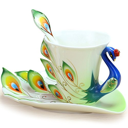 Yosou Home Personalized Unique Custom Design Porcelain Tea Cup and Saucer with Spoon Set Coffee Cup Mug 3D Peacock Theme Romantic Creative Gift -Green