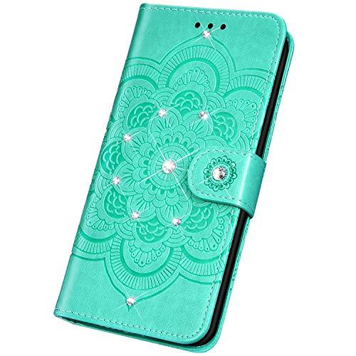 Surakey Funda para Xiaomi Mi 9T, funda para teléfono móvil, billetera, brillantes, brillantes, piel sintética, tapa con diseño de mandala, flores, función atril, tarjetero, color verde