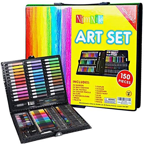 NIMNIK Valigetta Colori per Bambini - Set Disegno e Pittura - Valigetta dell'Artista | Set Pennarelli Matite Pastelli Colorati | Ottima Idea Regali pe