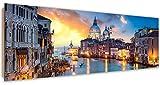 Feeby. Tableau Déco, Décoration Murale, Image imprimée, Deco Panel, Panoramique, 90x30 cm, Classe DE Canal, Venise, Architecture, Bleu