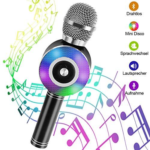 Microfono Karaoke Bluetooth, NINECY senza fili con altoparlante per bambini adulti, Stereo Player luce dinamica microfono con registrazione per giochi musicali/KTV/Party, per Android/IOS, PC