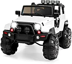 Best Choice Products 12V Kids Ride On Truck Car w/ Remote Control, 3 Speeds, Spring Suspension, LED Lights, AUX - White