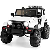 Best Choice Products Kids 12V Ride On Truck w/ Remote Control, 3 Speeds, LED Lights, Wireless Media Pairing - White
