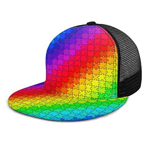 Unisex Baseballkappe mit Regenbogen-Puzzle, verstellbare Größe, 3D-Druck, Snapback