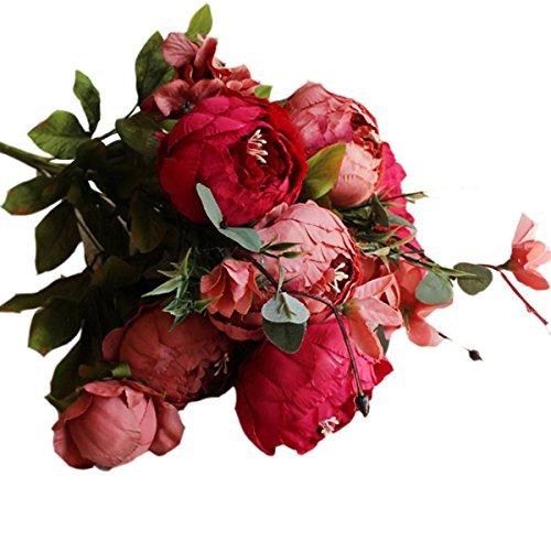 Butterme 1 Plante Vintage Pivoines Fleurs Cheveux Chignon Artificielle Pivoine en Soie Fleurs Bouquet Accueil Mariage Nuptiale Parti Bureau Décor Xmas