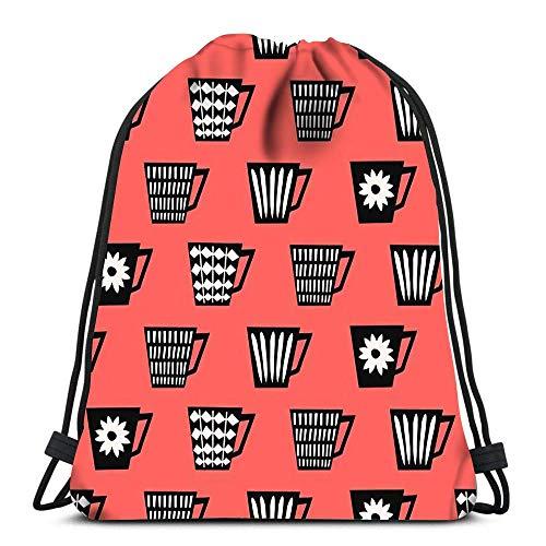 Arvolas Kordelzug Taschen Rucksack Mid Century Style Wiederholen mit Kaffeetassen Reiserucksäcke Tote School Rucksack