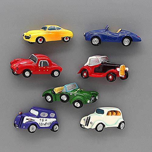 shenlanyu Imanes de nevera 7 unids modelo de coche 3d imanes de nevera pasta vintage pequeño coche deportes coche pasta magnética decoración del hogar regalos