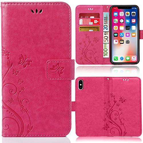 numerva Funda compatible con iPhone XS Max, funda para teléfono móvil con tarjetero, diseño de flores, color rosa