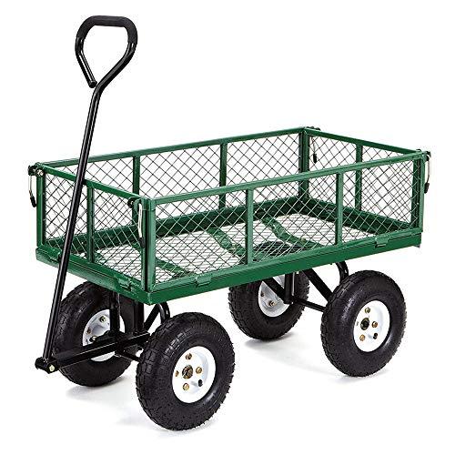GU YONG TAO Chariot de Jardin en Acier maillé Robuste avec côtés pliants Amovibles, Roues de 10 Pouces - Chariots à Benne basculante pour Jardin de pelouse de Plage, capacité de Charge de 440 LB