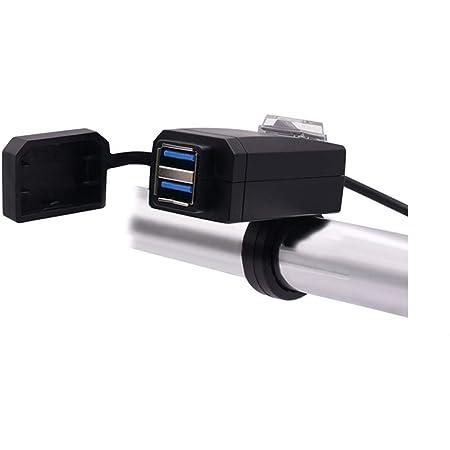 SHEAWA バイク USB電源 USB充電器 QC3.0 USB2ポート 電源ON/OFFスイッチ Quick Charge 3.0 防水カバー ハンドルやサイドミラーに取り付け可能