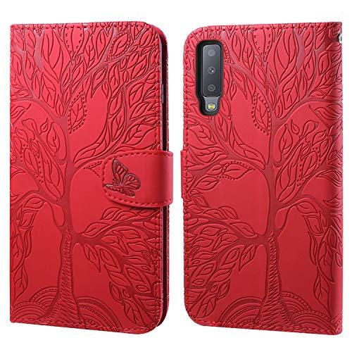 Ailisi Funda para Samsung Galaxy A7 2018/A750, Elegante Diseño de Árbol de la Vida en Relieve Billetera Carcasa Cover Protectora de Cuero PU con Cierre magnético, Ranuras para Tarjetas -Rojo