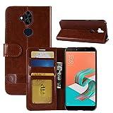 Zenfone 5 Lite ZC600KL Funda, HualuBro Retro PU Cuero hecho a mano Cartera Flip Case Cover Case Cover con ID Credit Card Slots para Asus Zenfone 5 Lite ZC600KL 6.0 ' marrón marrón