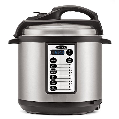 BELLA (14467) 10-In-1 Programmable 6 Quart Pressure Cooker & Steamer, Silver