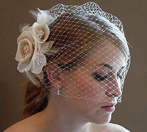 Xiaobei Hochzeitshüte für Damen Brauthaarzubehör Hochzeitshüte und handgemachte Blumen Kopfschmuck mit Kamm-Beige