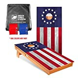 Official Cornhole Boards & Bags Set - American Cornhole Association - Betsy Ross - Heavy Duty Wood Construction - Regulation Size Bean Bag Toss for Adults, Kids - Lawn, Tailgate, Camping