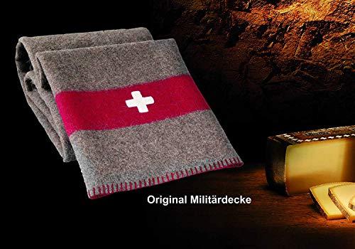 !!! Das Original !!! Schweizer Armeedecke, Outdoordecke 140 x 200 cm mit Packriemen in Leder. Extrem strapazierfähig und waschbar bei 30 Grad.