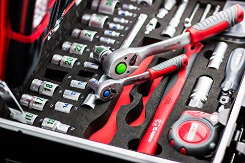 Meister Werkzeugtrolley 156-teilig ✓ Werkzeug-Set ✓ Mit Rollen ✓ Teleskophandgriff | Profi Werkzeugkoffer befüllt | Werkzeugkiste fahrbar auf Rollen | Werkzeugbox komplett mit Werkzeug | 8971440 - 9