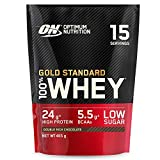 Optimum Nutrition Gold Standard 100% Whey Proteína en Polvo, Glutamina y Aminoácidos Naturales, BCAA, Double Rich Chocolate, 15 Porciones, 465g, Embalaje Puede Variar