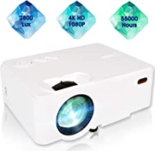 "$69 » Mini Projector, 1080P Portable Projector with 55,000 Hrs, 180"" Display 2800L Movie Projector for Outdoor Use, Home Theater Projector Compatible with Laptop, Phones, PS4, TV Stick, HDMI, VGA,TF,AV, USB"